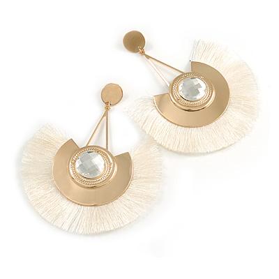 Statement Off White 'Fringe' Chandelier Drop Earrings In Gold Tone - 10.5cm Long