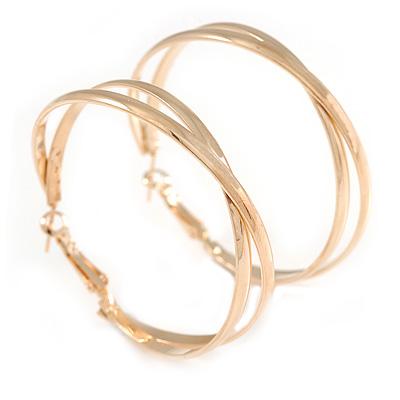 50mm Polished Gold Tone Crossed Hoop Earrings