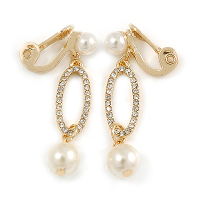 Stunning Clear Crystal Cream Faux Pearl Oval Drop Clip On Earrings In Gold Plating - 40mm Long
