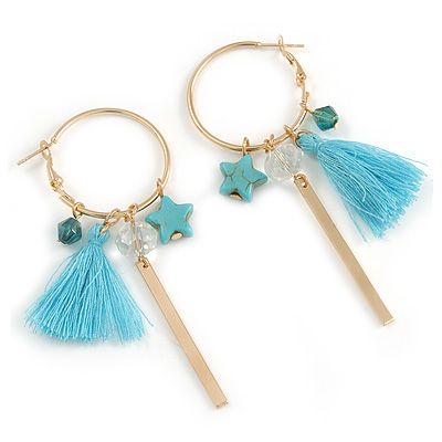 Trendy Tassel, Charm Hoop Earrings In Gold Tone - 80mm Long