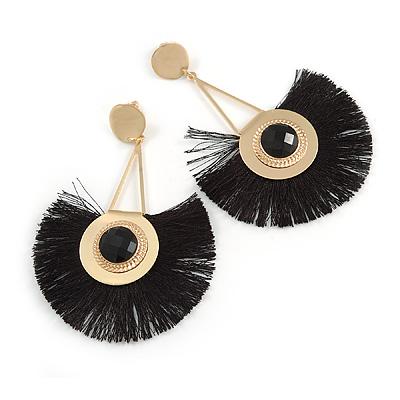 Statement Black 'Fringe' Chandelier Drop Earrings In Gold Tone - 9cm Long