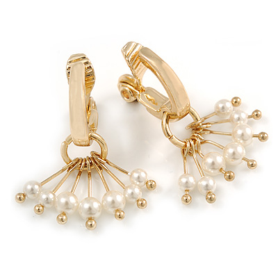 Gold Plated Half Hoop with Dangling Faux Pearl Bead Clip On Earrings - 30mm Tall - main view