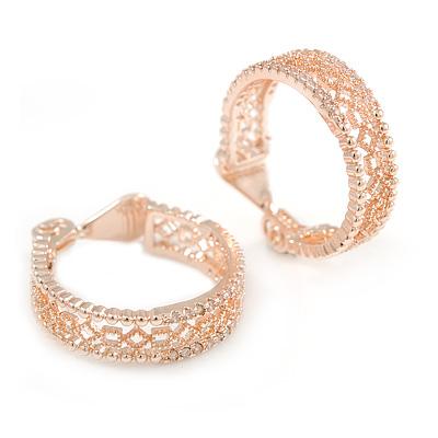 25mm Small CZ Filigree Hoop Clip On Earrings In Rose Gold Metal