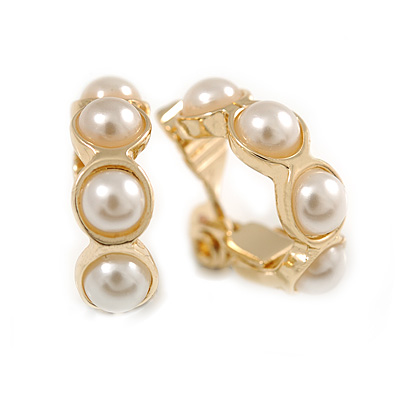 20mm Small Faux Pearl Hoop Clip On Earrings In Gold Plated Metal