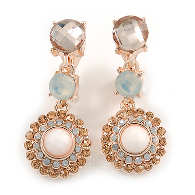 Striking Milky White/ Champagne Crystal Drop Clip On Earrings In Rose Gold Tone Metal - 35mm L