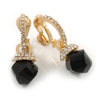 Striking Small Crystal Hoop with a Black Glass Bead Clip On Earrings In Gold Plated Metal - 30mm Long