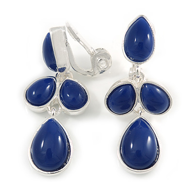 Stylish Blue Ink Acrylic Bead Drop Clip On Earrings In Silver Plated Finish - 38mm Tall