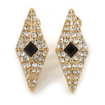 Stunning Crystal Diamond Shape Clip On Earrings In Gold Plated Metal - 32mm Tall
