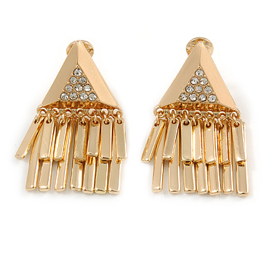 Stunning Crystal Triangular with Fringe Clip On Earrings In Gold Plated Finish - 40mm Long