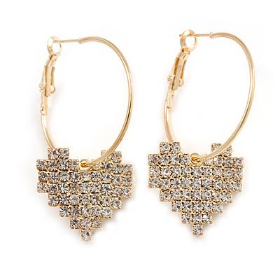 30mm Medium Romantic Hoop Earrings with Crystal Heart In Gold Tone Metal