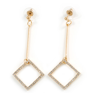 Trendy Crystal Geometric Dangle Drop Earrings In Gold Tone Metal - 60mm Long