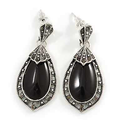 Vintage Inspired Oval Anthracite Crystal with Ceramic Stone Drop Earrings In Aged Silver - 40mm Long