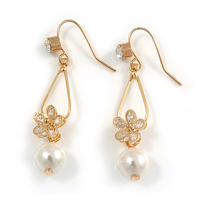 Delicated Clear Cz Floral with Faux Pearl Drop Earrings In Gold Tone - 45mm L - main view