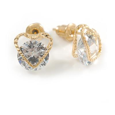 Small Clear Cz Heart Stud Earrings In Gold Tone - 10mm Across