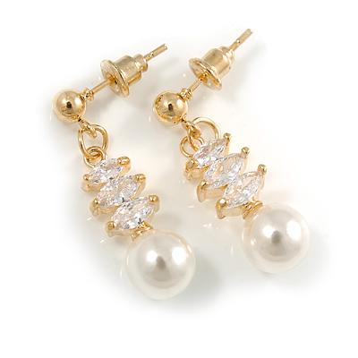 Delicate White Faux Pearl Clear Cz Drop Earrings In Gold Tone - 28mm Long - main view