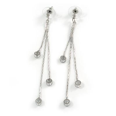 Delicate Silver Tone Chain Cz Dangle Earrings - 8cm Long