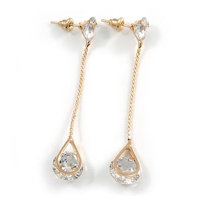 Trendy Teardrop Clear Cz Linear Chain Earrings In Gold Tone Metal - 55mm Tall