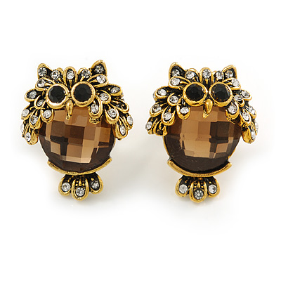 Funky Crystal Owl Stud Earrings In Aged Gold Tone Metal - 20mm Tall