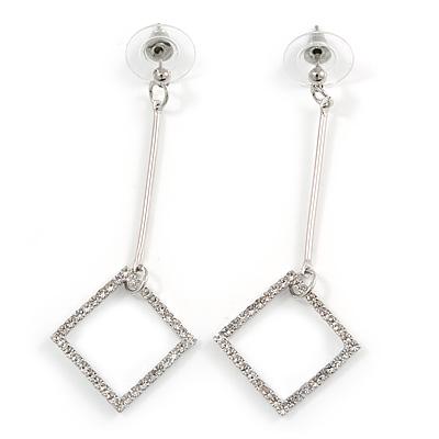 Long Crystal Geometric Dangle Earrings In Silver Tone Metal - 60mm Long