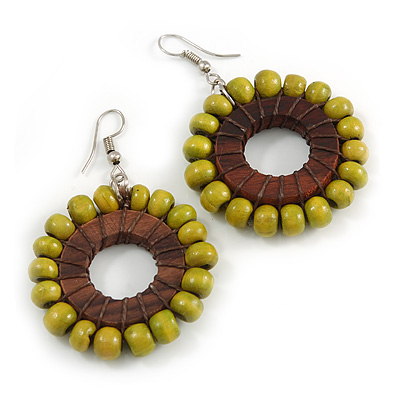 Olive Green/ Brown Wood Bead Hoop Earrings - 65mm Long