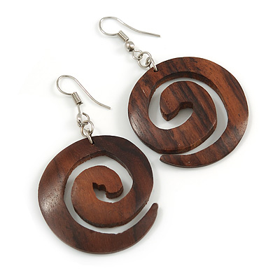 Trendy Dark Brown Wood 'Hook' Drop Earrings - 60mm Long