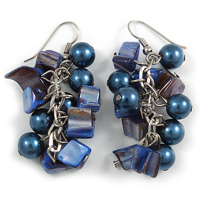 Dark Blue Glass Bead, Shell Nugget Cluster Dangle/ Drop Earrings In Silver Tone - 60mm Long