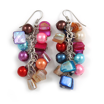Multicoloured Glass Bead, Shell Nugget Cluster Dangle/ Drop Earrings In Silver Tone - 60mm Long