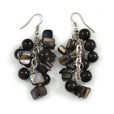 Black Glass Bead, Shell Nugget Cluster Dangle/ Drop Earrings In Silver Tone - 60mm Long - main view