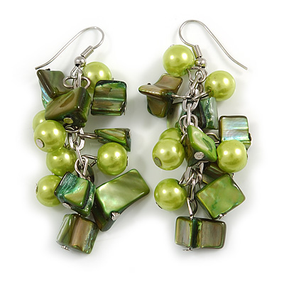Salad Green Glass Bead, Forest Green Shell Nugget Cluster Dangle/ Drop Earrings In Silver Tone - 60mm Long