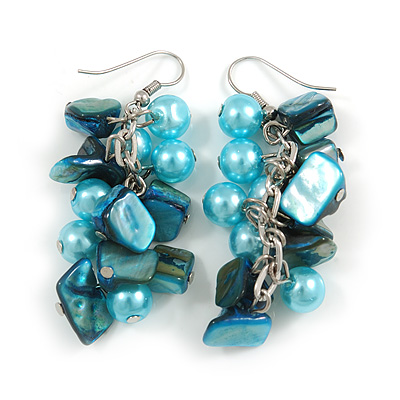 Light Blue Glass Bead, Shell Nugget Cluster Dangle/ Drop Earrings In Silver Tone - 60mm Long - main view