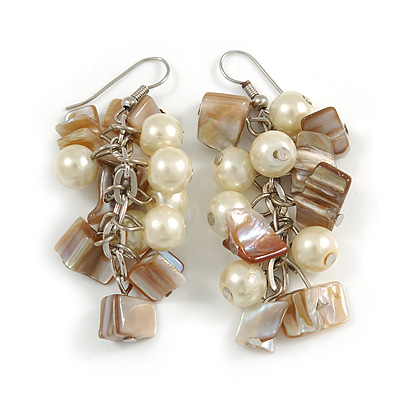 Cream Glass Bead, Antique White Shell Nugget Cluster Dangle/ Drop Earrings In Silver Tone - 60mm Long