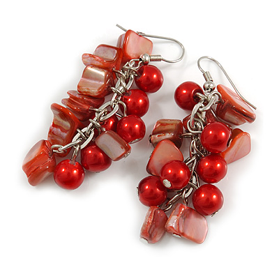 Red Glass Bead, Shell Nugget Cluster Dangle/ Drop Earrings In Silver Tone - 60mm Long - main view