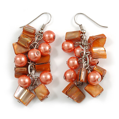 Peach Glass Bead, Burnt Orange Shell Nugget Cluster Dangle/ Drop Earrings In Silver Tone - 60mm Long