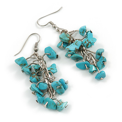 Turquoise Nugget Stone Cluster Drop/ Dangle Earrings In Silver Tone - 60mm L