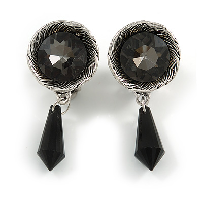 Vintage Inspired Textured Dim Grey Crystal with Black Dangle Clip On Earrings In Aged Silver Tone Metal - 45mm L