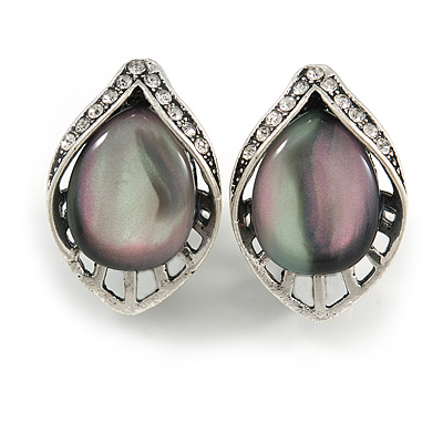 Vintage Inspired Leaf Shape Crystal with Cat Eye Clip On Earrings In Aged Silver Tone - 25mm Tall