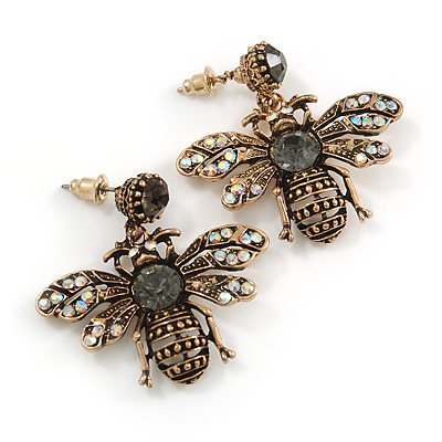 Vintage Inspired Crystal Bee Drop Earrings In Aged Gold Tone - 35mm Tall