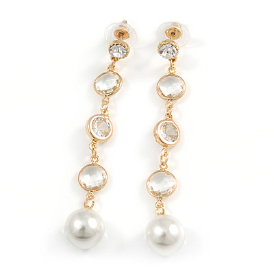Stunning Clear Crystal White Faux Pearl Long Linear Drop Earrings In Gold Tone - 70mm L