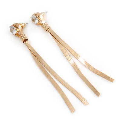 Gold Tone Chain Clear CZ Dangle Earrings - 8cm Long - main view