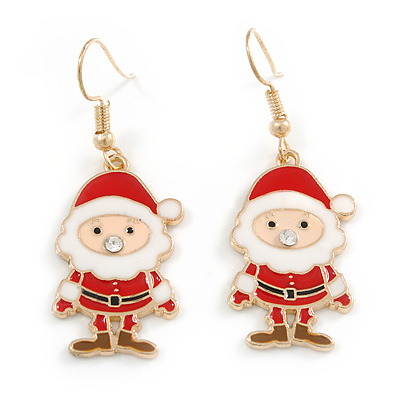 Christmas Santa Claus Red/ White Enamel Drop Earrings In Gold Tone - 50mm Tall