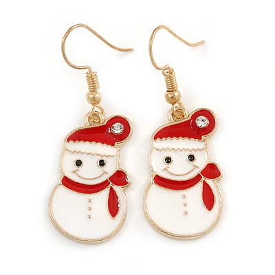 Christmas Snowman Red/ White Enamel Drop Earrings In Gold Tone - 45mm Tall