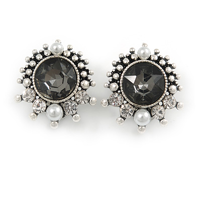 Vintage Inspired Crystal, Pearl Round Clip On Earrings In Aged Silver Tone Metal - 25mm Tall - main view