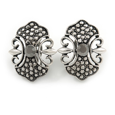 Vintage Inspired Hematite Crystal Ornate Clip on Earrings IN Aged Silver Tone - 27mm Tall