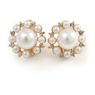 Gold Tone White Faux Pearl Crystal Floral Clip On Earrings - 18mm