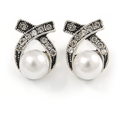 Vintage Inspired Clear Crystal White Faux Pearl Bow Stud Earrings In Aged Silver Tone - 20mm Tall - main view