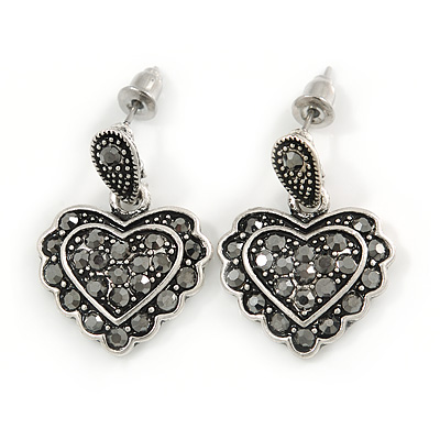 Vintage Inspired Hematite Crystal Heart Drop Earrings In Aged Silver Tone Metal - 25mm Drop