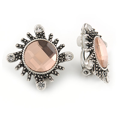 Vintage Inspired Round Faceted Pale Pink Crystal Clip On Earrings In Aged Silver Tone Metal - 20mm D