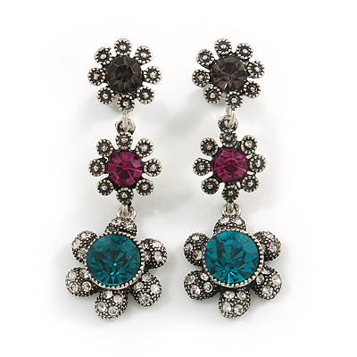 Teal/ Magenta/ Grey Crystal Floral Drop Earrings In Aged Silver Tone Metal - 45mm Tall