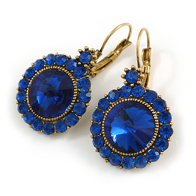 Vintage Inspired Round Cut Sapphire Blue Glass Stone Drop Earrings With Leverback Closure In Antique Gold Metal - 40mm L
