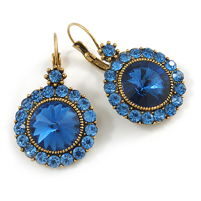 Vintage Inspired Round Cut Sky Blue Glass Stone Drop Earrings With Leverback Closure In Antique Gold Metal - 40mm L